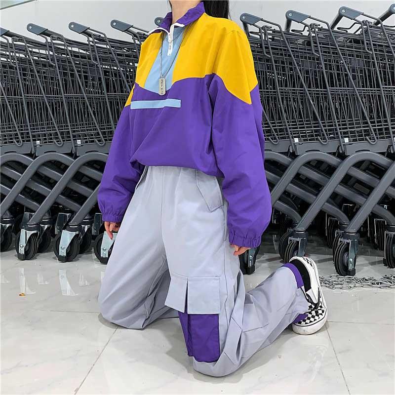 NiceMix 2pc Set PantSweatshirt Women Harajuku Stitching Sweatshirts Hoodies Hop Casual Coat Tops 2019 Women Sweatshirts Pullover