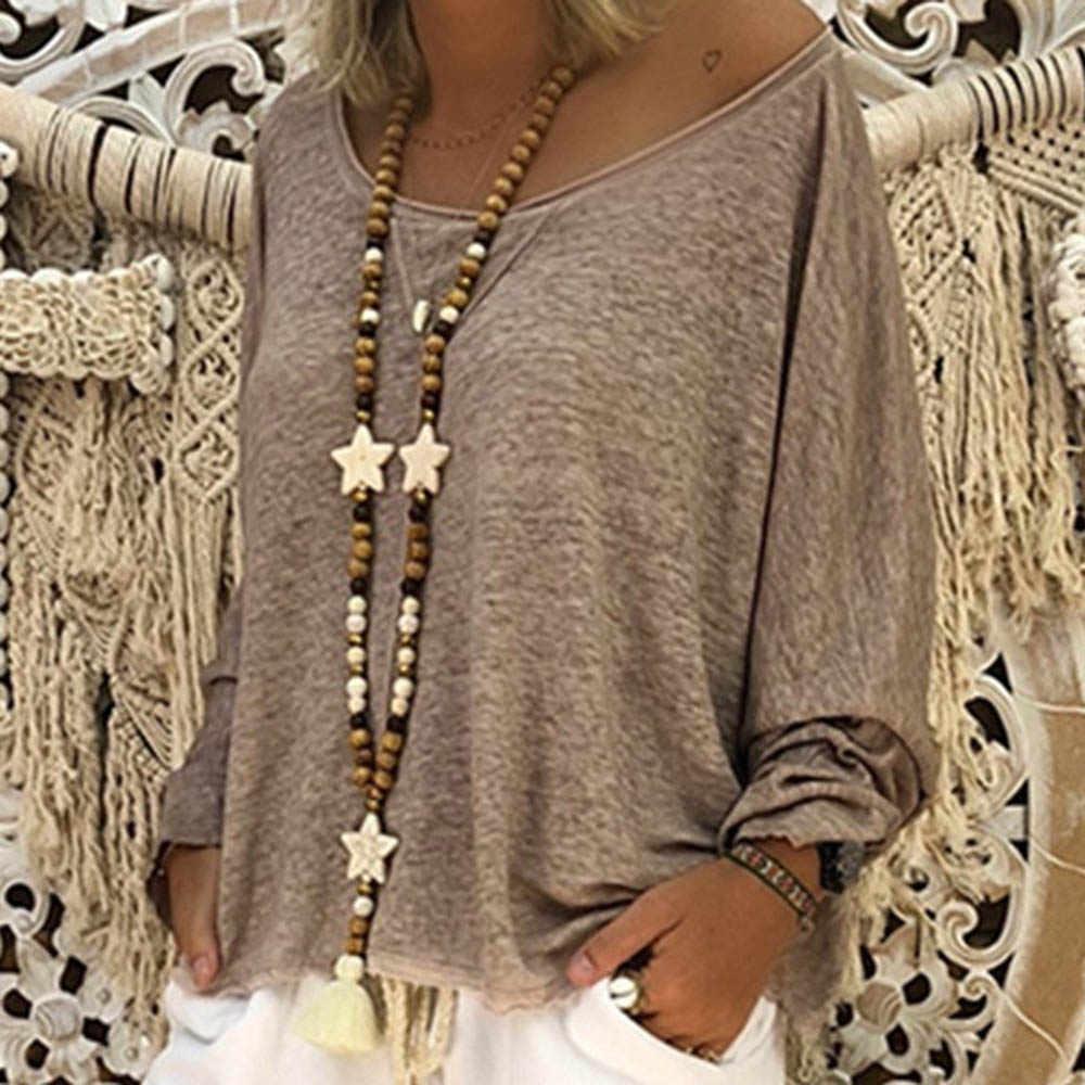 プラスサイズの女性自由奔放に生きる女性長袖 Tシャツ Tシャツトップス夏のビーチ綿女性は 2020 トッププルオーバー feminina