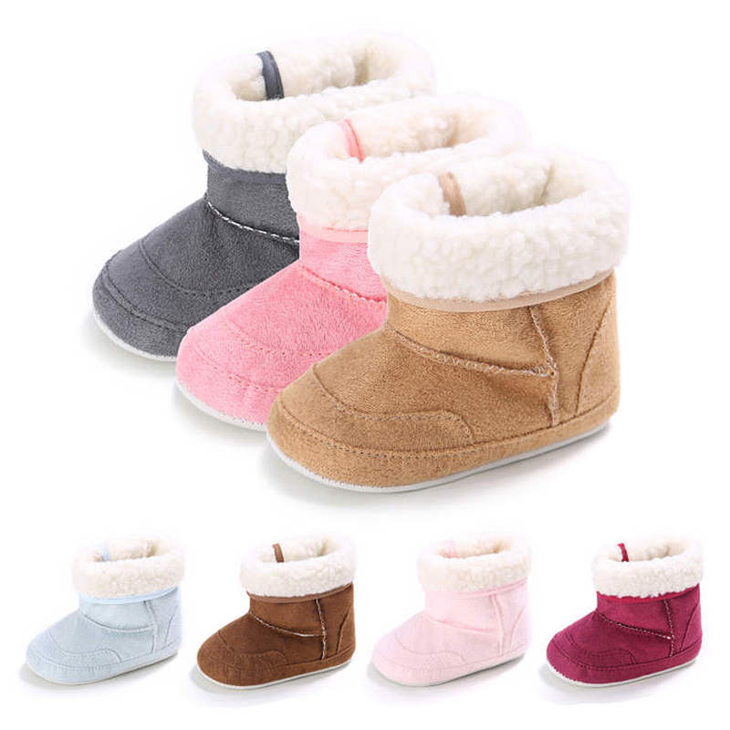 2019 Winter Snow 7 Colors Solid  Warm Plush Indoor Soft Cotton Sole 0-2 Years Newborn Toddler Baby Shoes First Walkers Fur Boot
