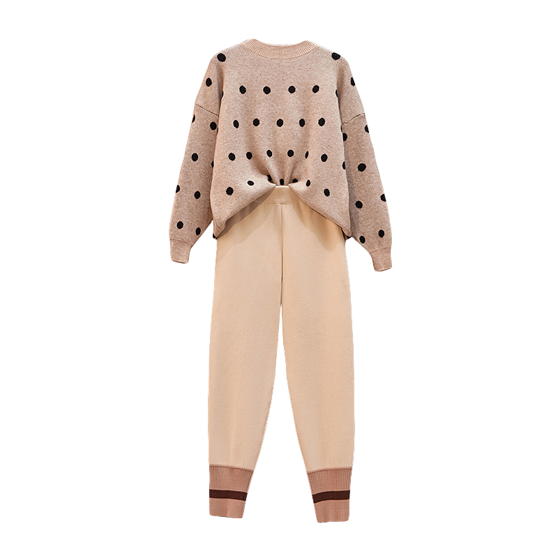 Large Plus Size Sport Warm Suit Winter Women Knitted 2 Piece Set Sportwear Pullover Sweater+Pocket Pant Suit Outfits Tracksuit