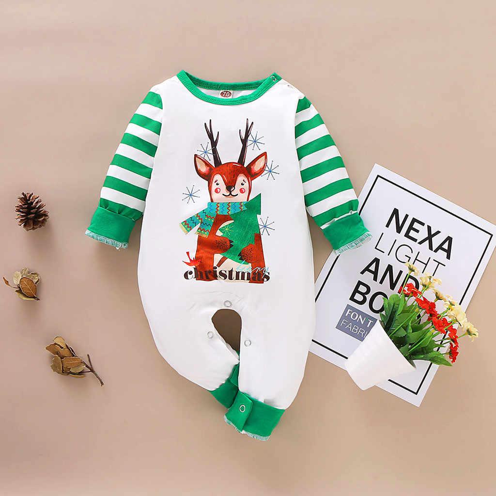 Детский Рождественский комбинезон в полоску с рисунком оленя для маленьких мальчиков и девочек, комбинезон, детская одежда, боди для малышей, roupa infantil