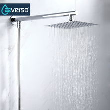 """EVERSO Chrome Wall Mounted Ultrathin Square 8"""" Shower Head + Stainless Steel Shower Arm + Srainless Steel Shower Hose"""