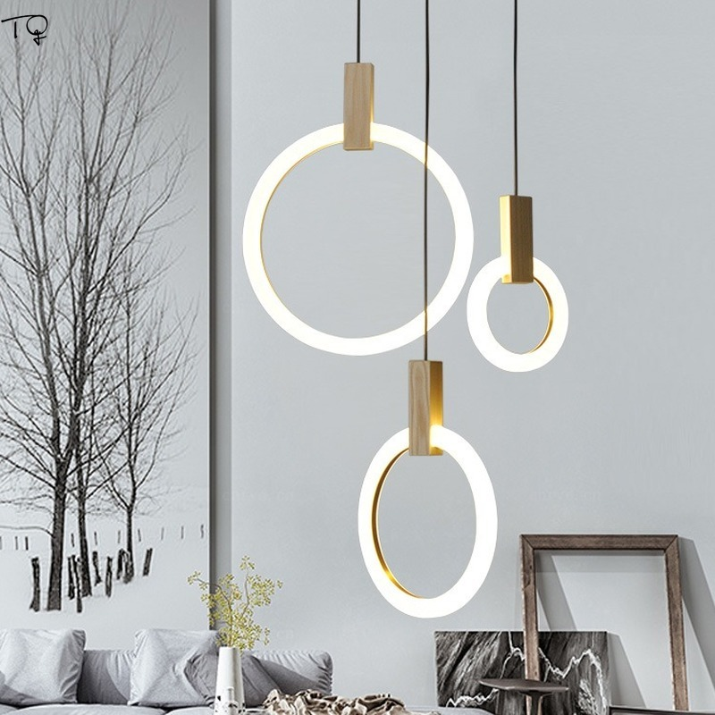 Minimalist Simple Solid Wood Ring Pendant Light Art Decor Round Acrylic Led Hanging Lamp Living Room Staircase Villa Dining Room