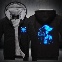 Anime One Piece Luffy Edward Luminous Zipper Sweatshirt Sportswear Hoodie Hooded Unisex Tracksuit Coat Jacket Cosplay Costume