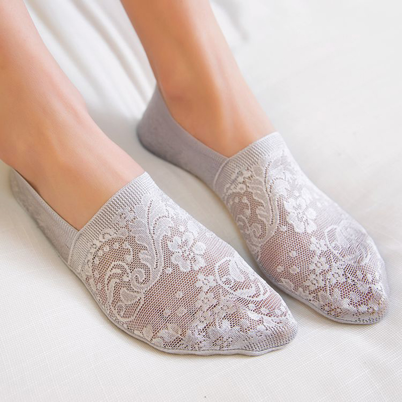 1/2/3/5pair Ankle Women Socks Fashion Girls Summer New Style Lace Flower Short Socks Antiskid Invisible Breathable Sock Slippers