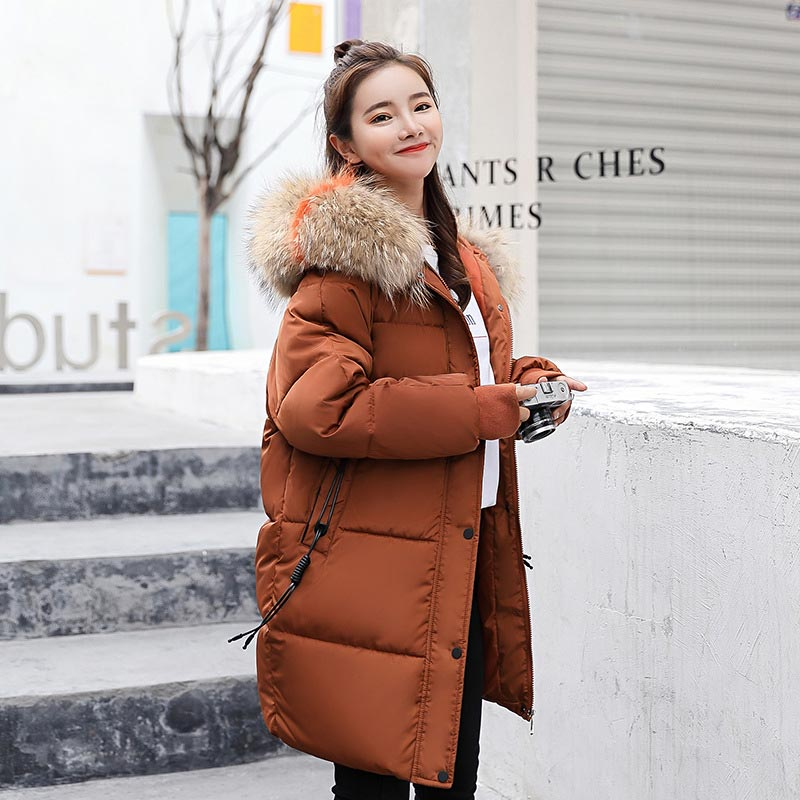Winter Jacket Women Coats 2019 Fur Collar Hooded Zippers Parkas Women Down Jackets Coats Long Warm Casual Tops Female Coats
