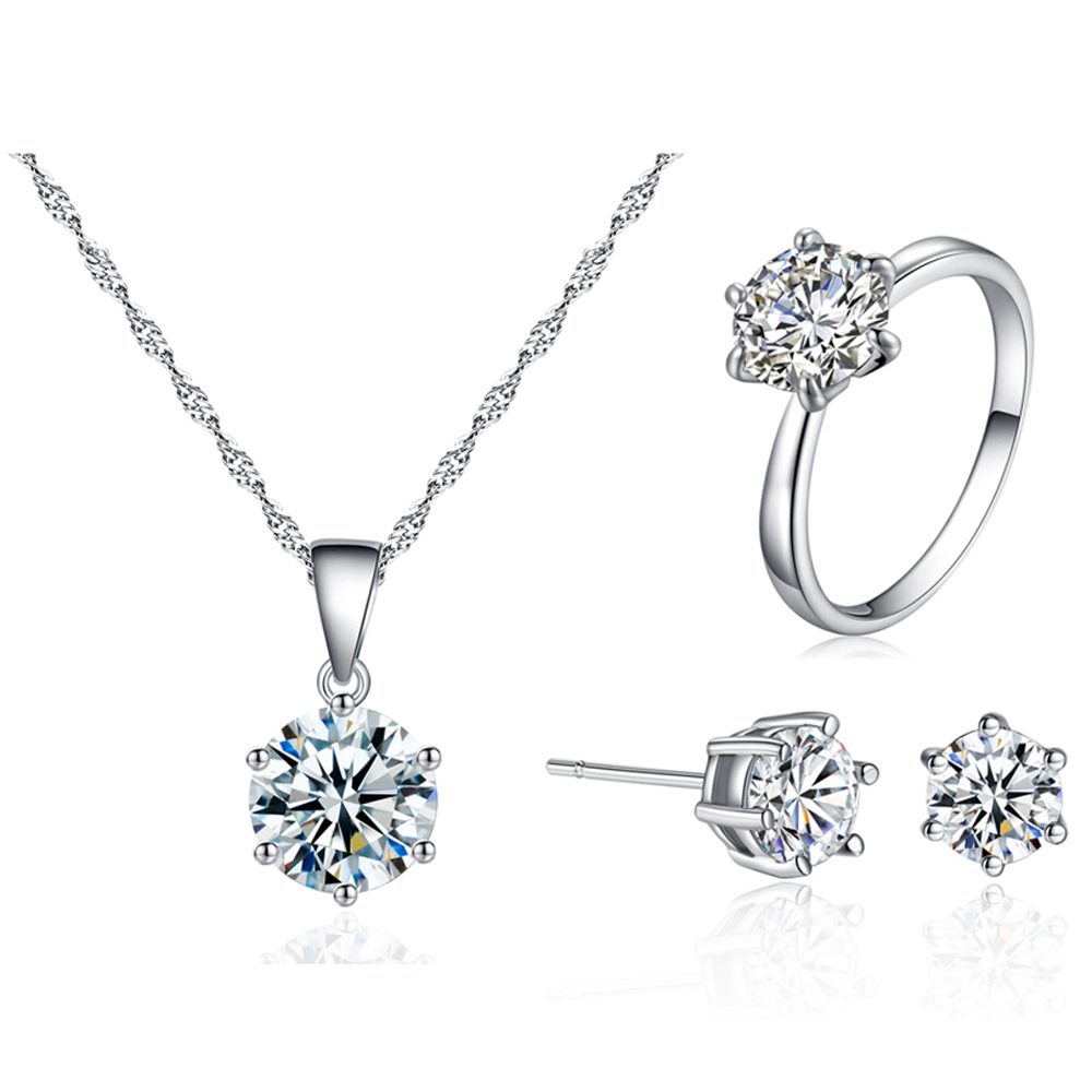 Fashion Crystal Pendants Earring Necklace Ring Set for Women Jewelry Set Bridal Wedding Earring Necklace Set