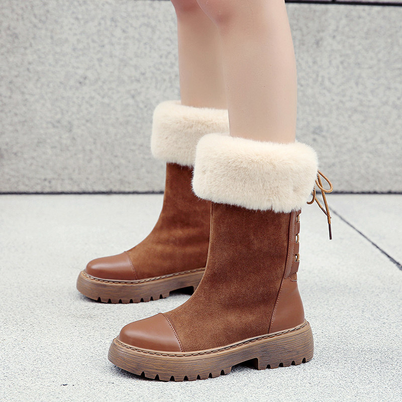 Winter Boots Women Pu Leather Waterproof Flock Suede Fur Lined Solid Color Plush Lining brown/black Lady Warm Boots 8J85 image