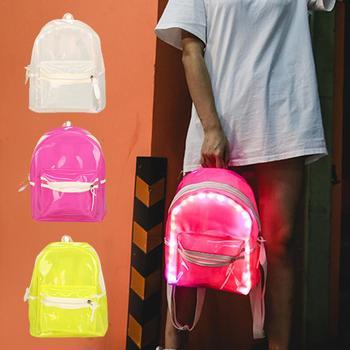 Mochila LED estudiante bolsa transparente Flash jalea mochila señora Anti-Acuarela lámpara mochila luminosa transparente mochila