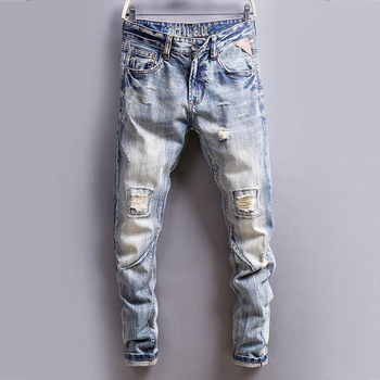 цена Italian Vintage Designer Men Jeans Slim Fit Buttons Jeans Casual Long Pants Ripped Jeans Straight jeans Classical Jeans Men онлайн в 2017 году