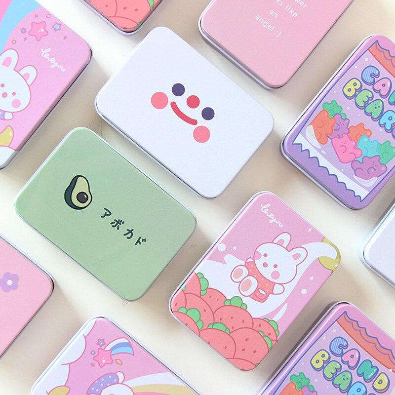 1Pc Cute Korean Avocado Rabbit Bear Flower Square Metal Washi Tape Jewelry Storage Box Stationery Desk Organizer Card Holders