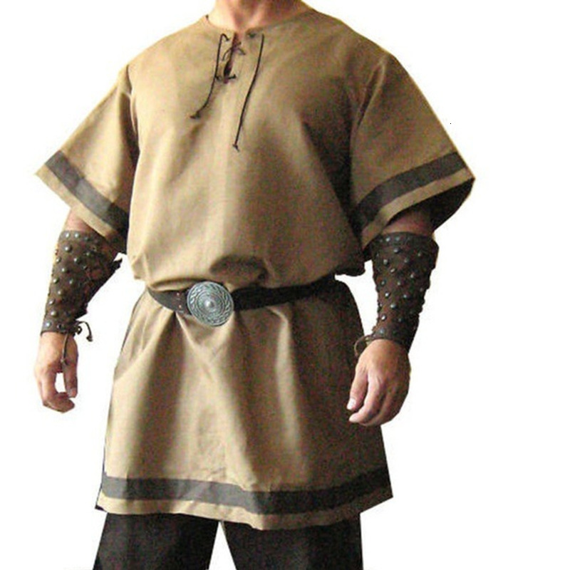 Medieval Knight Soldier Robes Viking Pirate Blouse Performance Clothing Ancient Rome Escort Guard Tee Shirt Tops Cospaly Costume