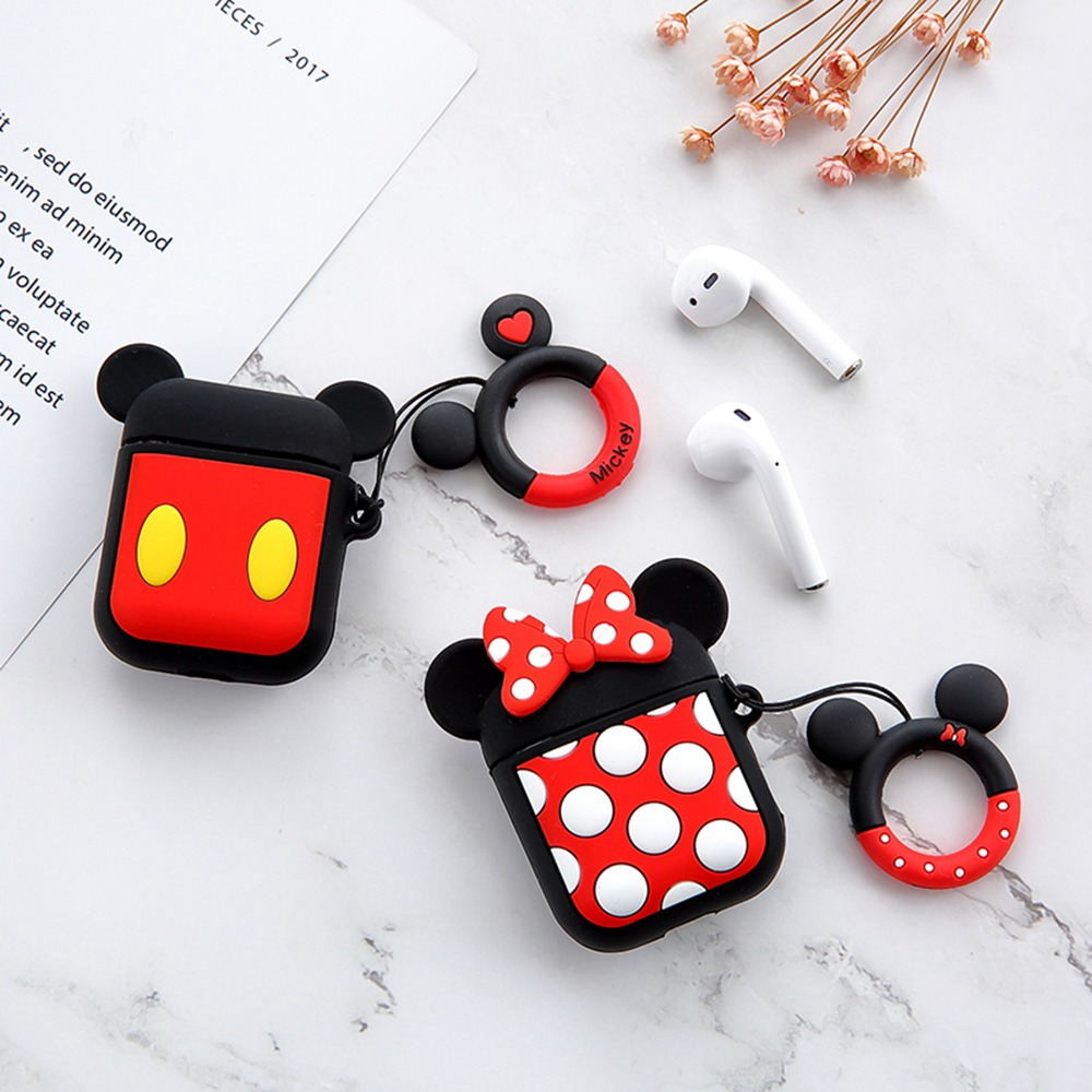 Bluetooth Earphone Case For Airpods 2 1 Cute Cartoon DIY Silicone Mickey Minnie Protective Cover For Airpods Box Key Ring Strap