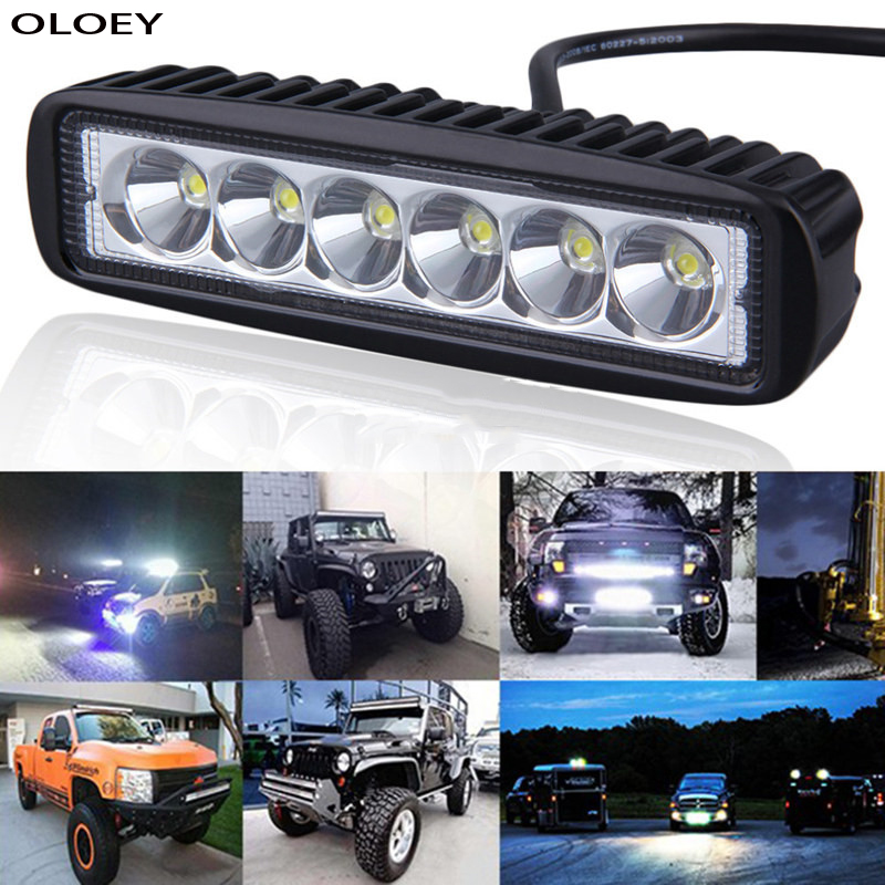 Car LED Work Light Light Bar Spot Flood Worklight 12V 18W For Bright White Lighting For Truck Tractor Offroad Vehicle