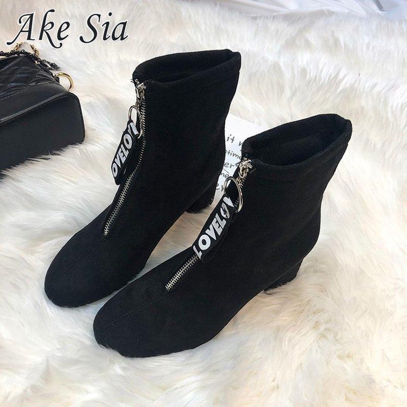 Женские замшевые ботинки на молнии, удобные зимние ботинки с круглым носком, теплые хлопковые ботинки на высоком каблуке, новинка 2019