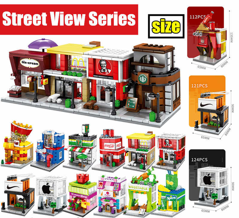 MOC Mini City Street Food Candy Pizza Coffee Shop Bookstore Fit Legoings Streetview Building Blocks Bricks Kids Educational Toys