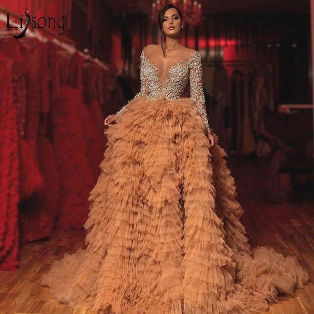 Luxo champagne babados tule vestidos de noite mangas completas brilho cristal frisado renda a linha sexy vestidos de baile