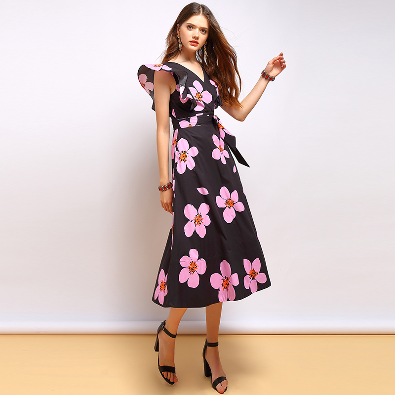 Baogarret Summer Fashion Dress Women 39 s Sexy V Neck Backless Bow Tie Ruffles Floral Printed Elegant Vintage Vacation Dress in Dresses from Women 39 s Clothing
