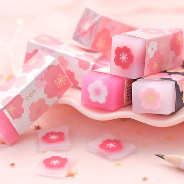 1Pcs Pink Cherry Rubbers for Pencils Kids Girls Lovely Erasers Prize Writing Drawing Correction Tool Office School Supplies