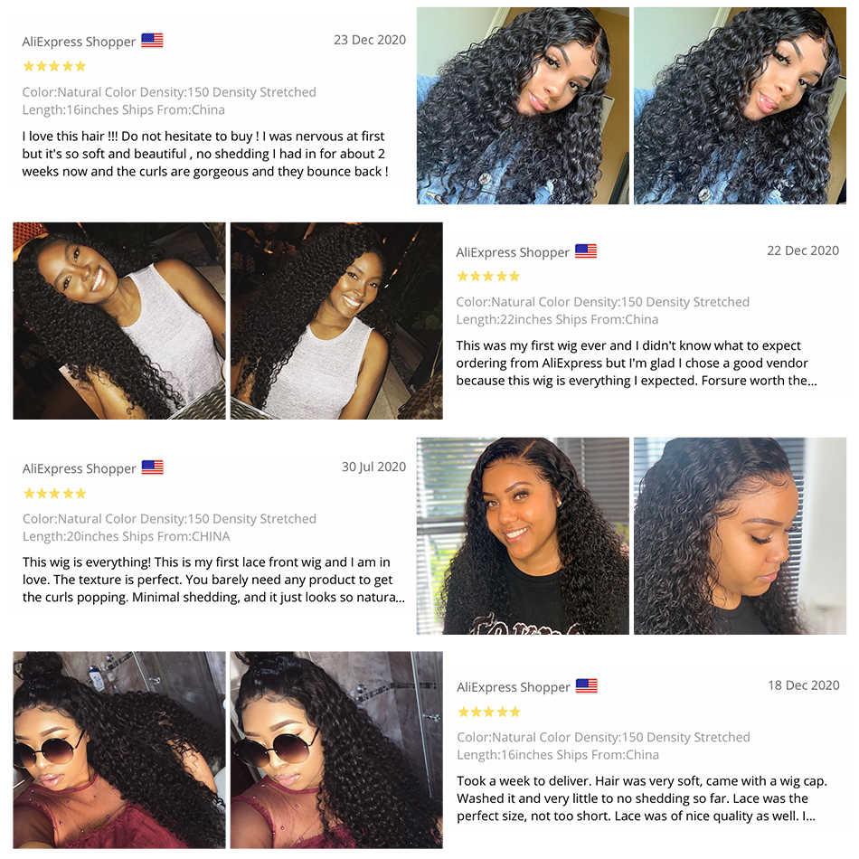 28 30 Inch Tiefe Welle 13X4 Spitze Front Menschliches Haar Perücken Pre Gezupft Brasilianische Remy Haar Wasser Lockige Perücken Für schwarz Frauen