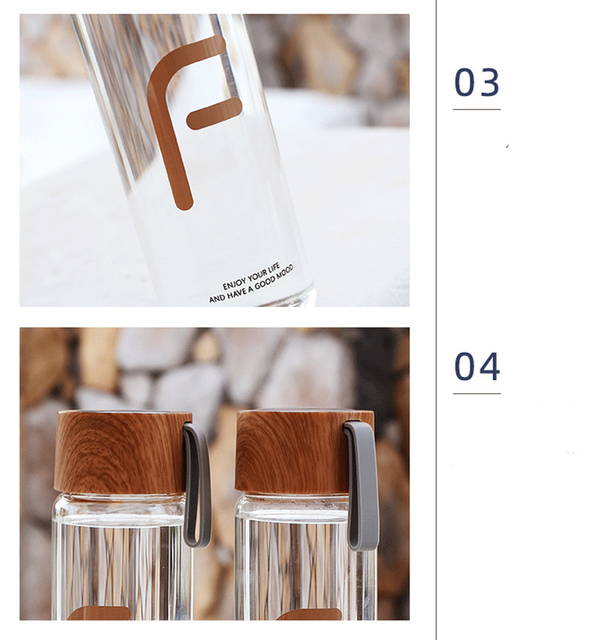 Wood Grain Color Glass Water Bottle With Rope High Borosilicate Glass Water Bottles Leakproof For Sports Ofiice 5