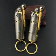 Personality Austrian Retro Kerosene Oil Lighter Stainless Steel Refillable Lighter Keychain Pendant