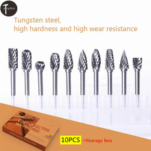 10Pcs Tungsten Steel Solid Carbide Rotary Burr Bit  3mm Shank 6mm Head Rotary File For Wood Metal Carving Drilling Polishing Bit 20 pcs solid carbide bur burr double cut set 3mm shank
