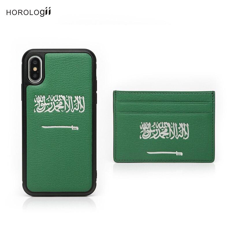 Coque de téléphone monogramme Horologii pour iphone 11 Pro Max étui avec porte-carte drapeau d'arabie saoudite couleur verte coffret livraison directe