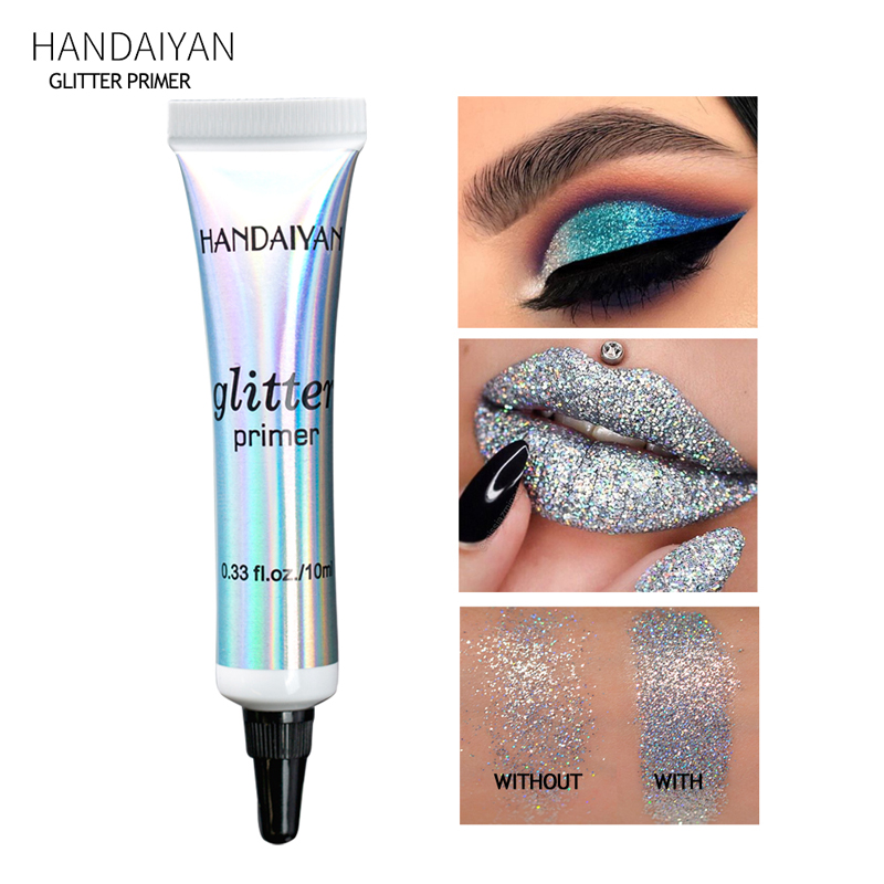 HANDAIYAN Glitter Eyeshadow Primer Waterproof Lip Face Primer Multi-Function Base Cream Diamond Body Shiny Makeup Base for Pro image