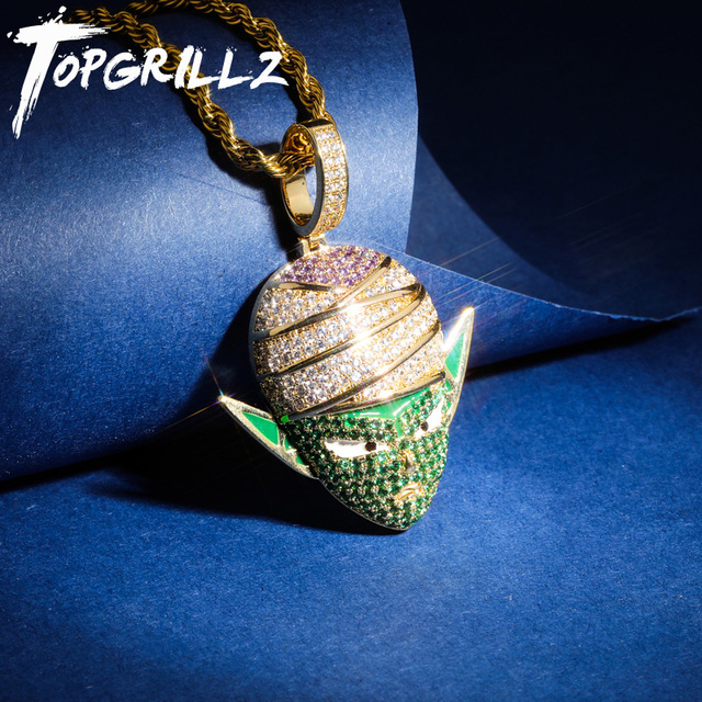TOPGRILLZ Dragon Ball Character Piccolo Pendant Necklace Iced Out CZ Hip Hop Gold Silver Color Men Women Charms Chain Jewelry
