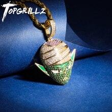 TOPGRILLZ Dragon Ball Charakter Piccolo Anhänger Halskette Iced Out CZ Hip Hop Gold Silber Farbe Männer Frauen Charme Kette Schmuck