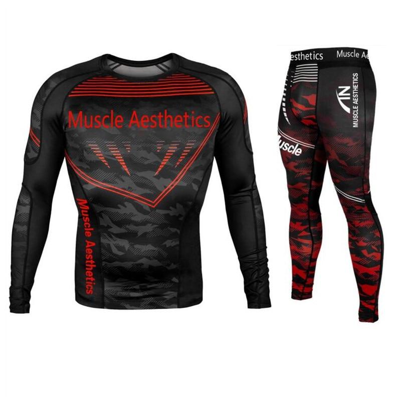 Mens Compression Tights Pants Running Sport Compression T Shir Gym Set Men Running Sport Quick Dry Jogging Training Tops Legging
