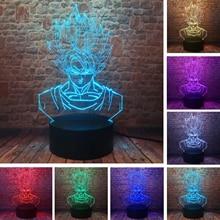 Figuras de acción de Dragon Ball Super Saiyan Goku, lámpara de mesa con ilusión 3D, luz de noche variable de 7 colores para niños y bebés