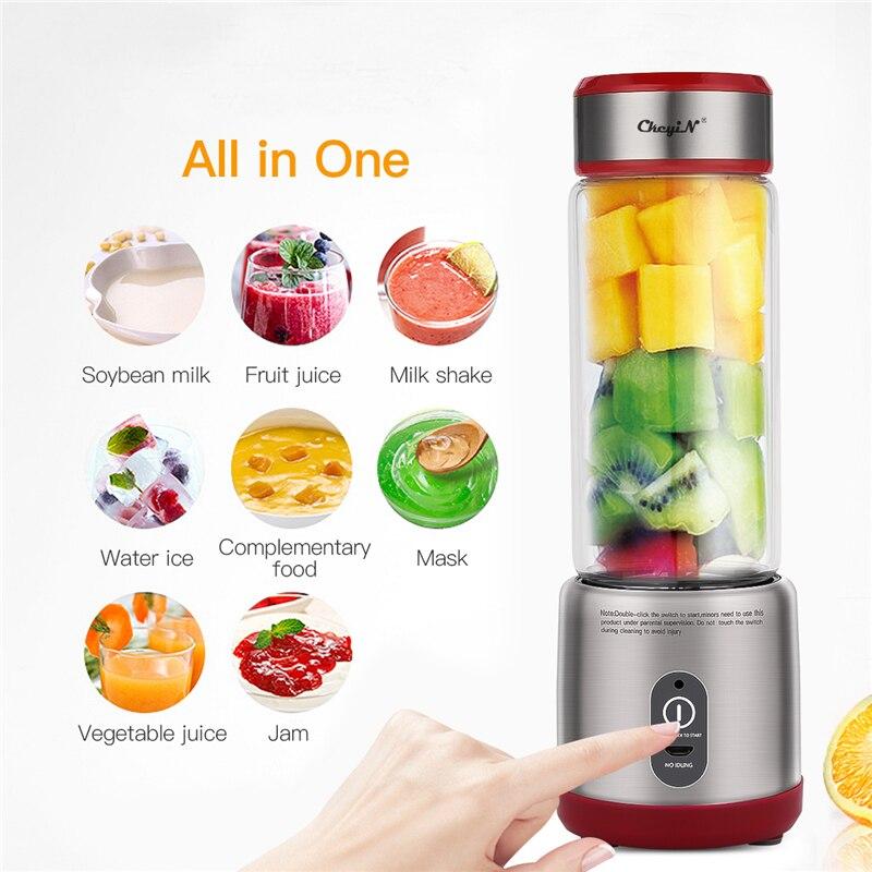 450ML USB mélangeur de fruits mélangeur électrique presse-agrumes Machine Smoothie mélangeur robot culinaire mélangeur tasse jus Orange mélangeur 6 lames