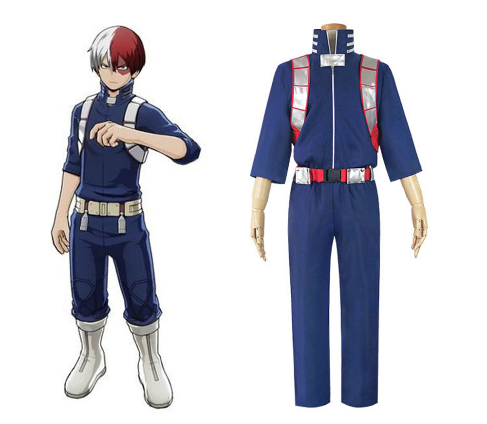Anime Academia Shouto Shoto Todoroki Cosplay Costume School Uniform Outfit Jumpsuit Battle Uniform Set Adult Halloween Costume