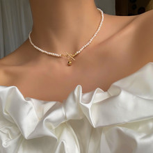 Brass With 18K Gold Natural Pearl OT Chains Necklace Women Jewelry Designer T Show Runway Sweety Boho Japan Korean Sample Trendy