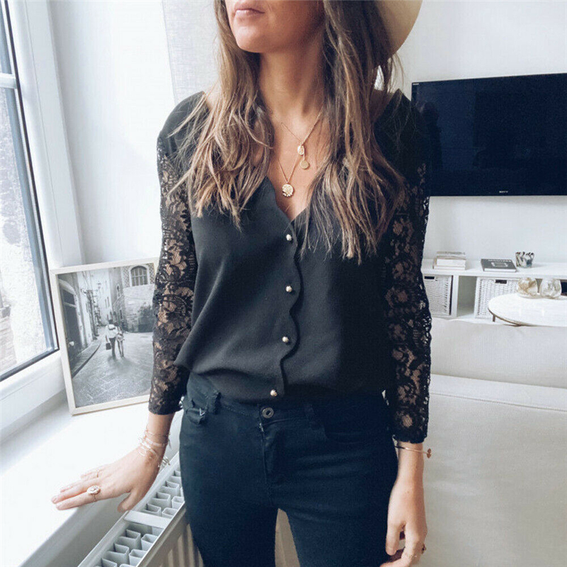 2020 Black Lace Blouse Women Elegant Long Sleeve Sexy V Neck Shirts Femme Spring Casual Blusas Tops Women Clothing