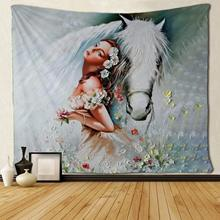 Цветок девушка и белая лошадь художественные гобелены хиппи искусство