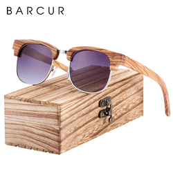 BARCUR Polarized Zebra Wood Square Sunglasses Men Gradient Lens Women UV400 Protection Oculos de sol masculino