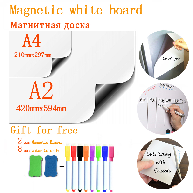 Soft Fridge Stickers Size A4+A2 Magnetic Whiteboard For Kids Dry Eraser School Memo Presentation Writing Drawing Bulletin Board