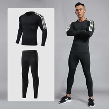 цены 2019 Men Sports Suit Sets Long Sleeve Running Quick Dry Basketball Gym Jogging Suit Sport Yoga Fitness Compression Clothing Set