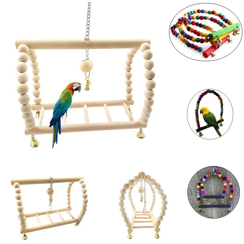 Попугаи игрушки птица качели упражнения скалолазание подвесная лестница мост деревянная Радуга Животное попугай гамак для ары птица игрушка с колокольчиками