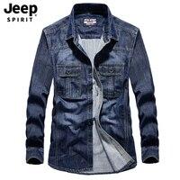 JEEP SPIRIT Brand Denim Shirt Men Autumn Long Sleeve Cotton Single Breasted Jeans Shirt Male Casual Cotton Men Shirts Size M 4XL