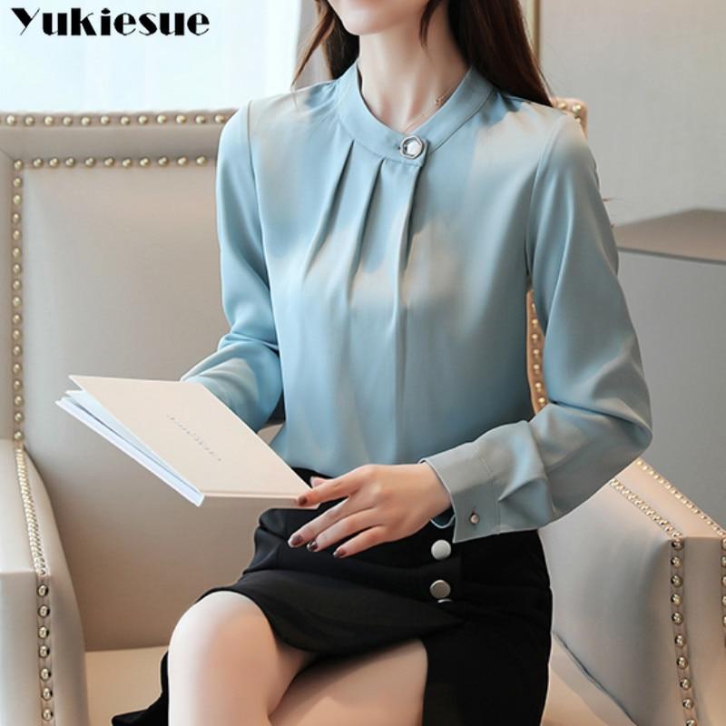 fashion womens tops and blouses stand collar office blouse women chiffon blouse shirt female long sleeve women shirts blusas 3