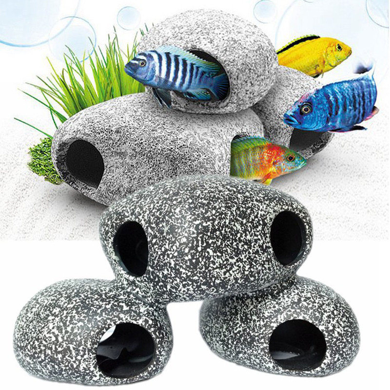 Aquarium Fish Tank Pond Ornament Decoration Shrimp Breeding Rock Cave Ceramic Stones Aquarium Accessories