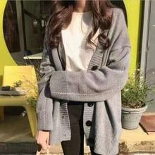 Women Sweater Cardigans Buttoned-Up Heliar V-Neck Knitting Streetwear Long Plus-Size