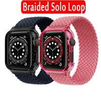 Correa de tela trenzada para Apple watch, correa de 44mm y 40mm para iWatch, funda y correa para Apple watch series 3 4 5 se 6