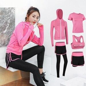 Image 2 - Женская спортивная одежда, комплект одежды для йоги, тренажерного зала, фитнеса, бега, бега на открытом воздухе, тренировочный Быстросохнущий комбинезон