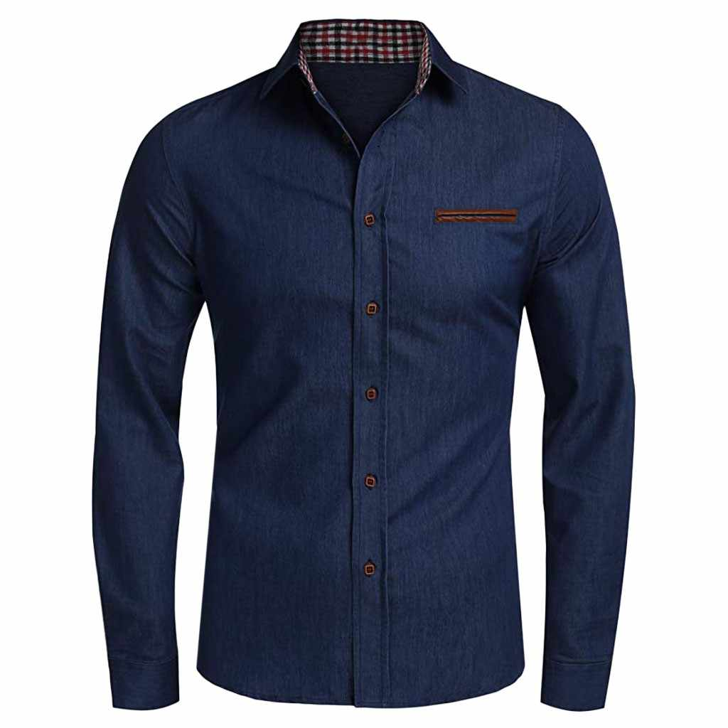 JAYCOSIN heren blouse Mode Denim shirt Knop top Mannen Trun-down Kraag Tops Blouse mannelijke Solid Casual katoen polyester shirt