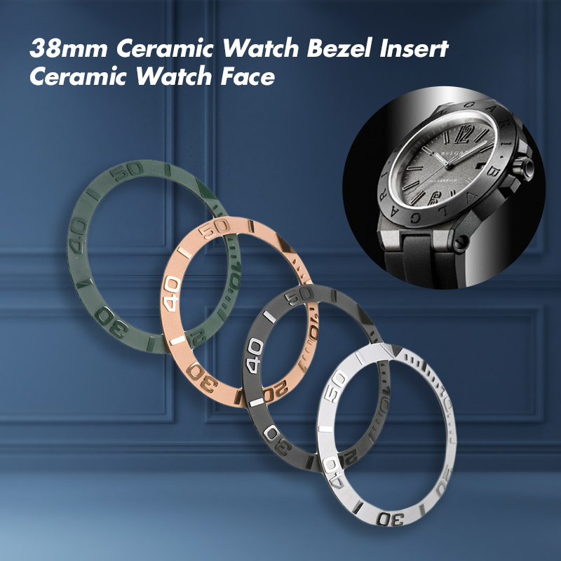 38mm Ceramic Watch Bezel Insert For 40mm Mens Watch Face Watches Replace Accessories Inner Diameter 30.7mm Round Scale Bezel